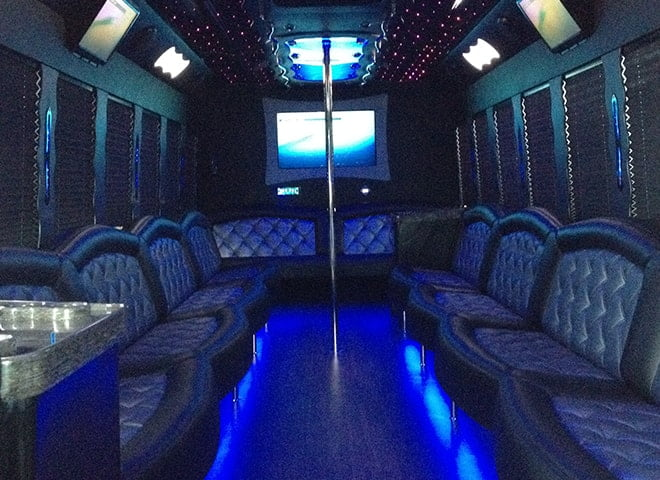 32 passenger Party Limo Bus interior 1