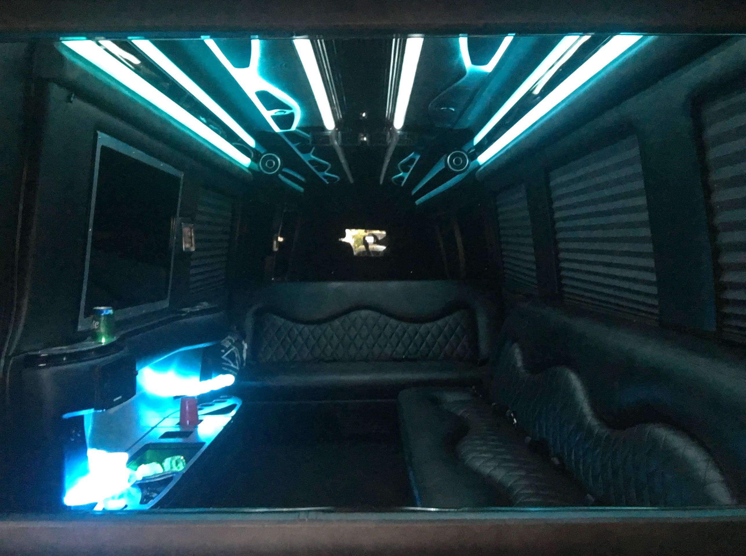 10 12 black Luxury Mercedes Benz sprinter limousine interior 201