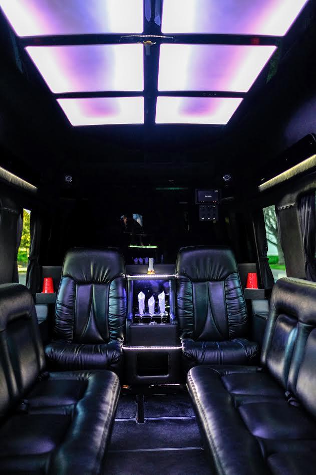 10 passenger black Executive Mercedes Benz sprinter limousine Interior 1